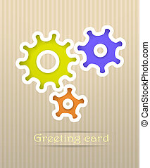 Gears postcard vector illustration