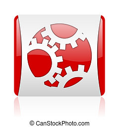 gears red and white square web glossy icon