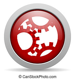 gears red circle web glossy icon