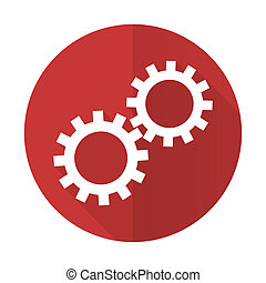 gears red flat icon options sign