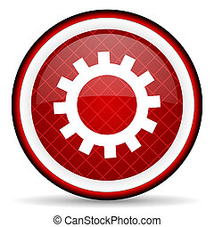 gears red glossy icon on white background