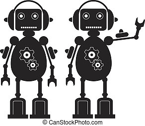 Gears Robot - Two Black Friendly Robots with Gears,...
