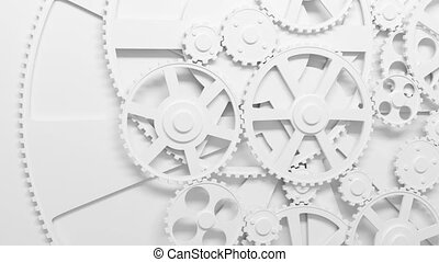Gears rotating in looped animation.