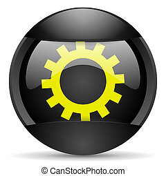 gears round black web icon on white background