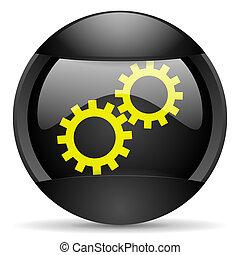 gears round black web icon on white background