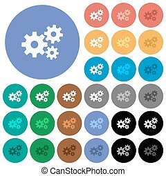 Gears round flat multi colored icons