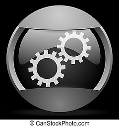 gears round gray web icon on black background