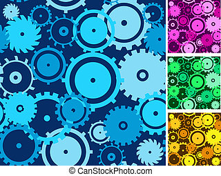 Gears seamless backgrounds set.