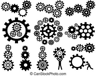gears set - isolated black gears icon set from white ...