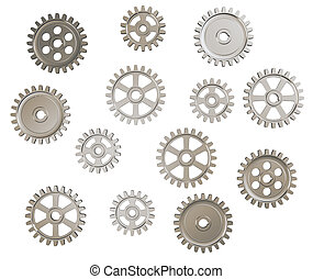 Gears - Set of toothed gears on white background