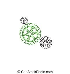 Gears set stroke green