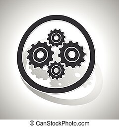 Gears sign sticker, curved
