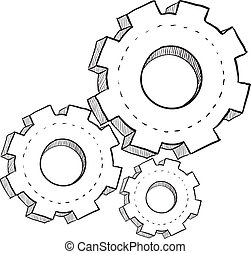 Gears sketch - Doodle style gears, cogs, or settings vector...