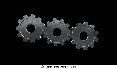 Two gears spinning flies out one and become in one mechanism interacts. Black background. Alpha channel