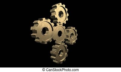 Four gears spinning flies out one and become in one mechanism interacts. Black background. Alpha channel