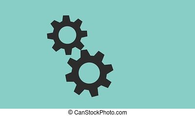 gears spinning icons animation design