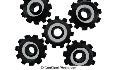 Gears spinning on white background close up. Alpha channel