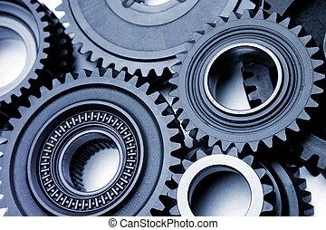 Gears - Steel gears meshing together