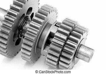 Gears - Closeup of metal gear box