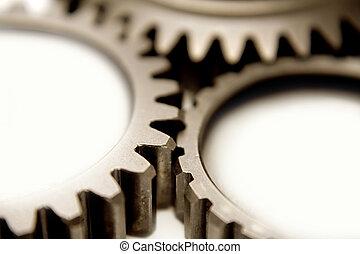 Gears - Closeup of three steel gears