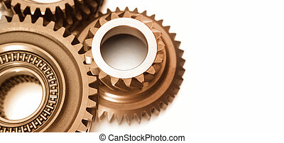 Gears - Closeup of steel gears meshing together