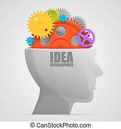 gears., testa, vettore, illustrazione