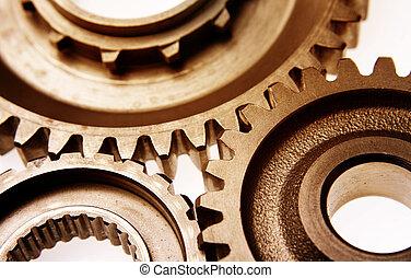 Gears - Three gears meshing together