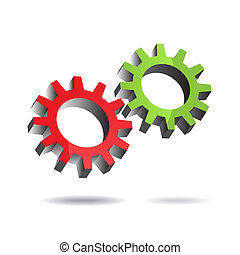 Gears turning - Vector - Illustration of two floating gears...