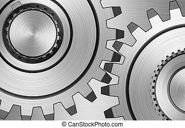 Two gears on steel background