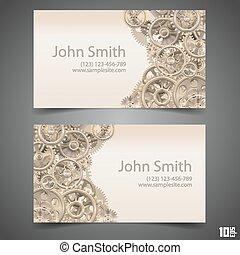 Gears vector business card