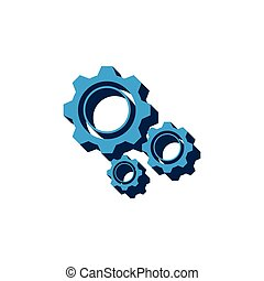 gears vector icon isometric. 3d sign isolated on white background.