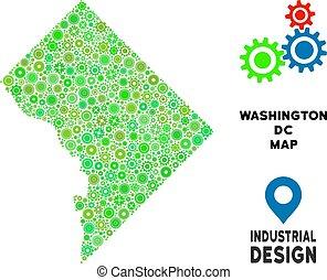 Gears Washington DC Map Composition