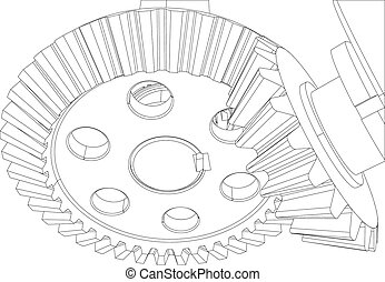 Gears with bearings and shafts. Close-up. Vector