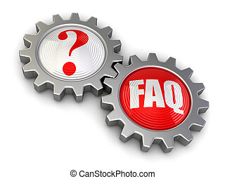 Gears with Quest and FAQ. Image with clipping path