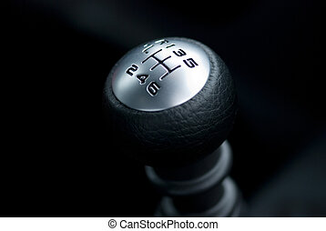 close up of gear shift with 6 gears