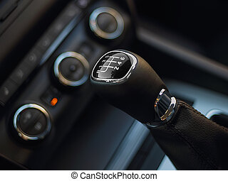Gearshift in the car. Handle a manual transmission