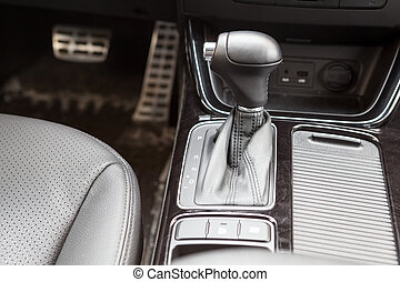 Gearshift lever of automatic gearbox. Car interior