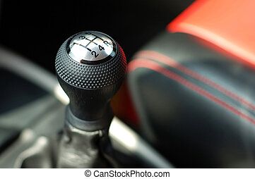Gearshift of sportive car - Close up of gearsift of a ...