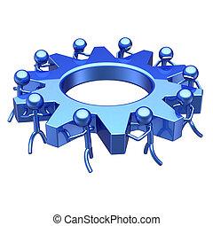 gearwheel gear wheel team work people turning blue cogwheel....