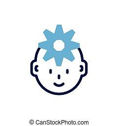 gearwheel, homem, cabeça, fundo branco