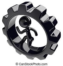 Gearwheel man character inside gear wheel businessman