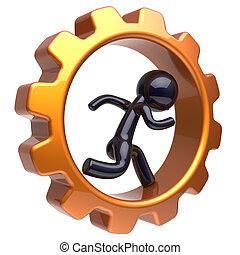 Gearwheel man character running inside gear wheel stylized