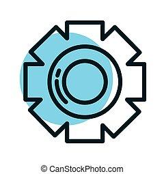 gearwheel tool, line style icon