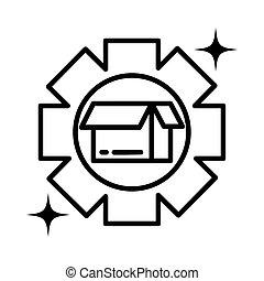 gearwheel tool , line style icon