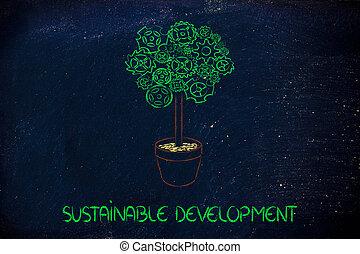 gearwheel, træ, surreal, forklaring, i, grønne, økonomi