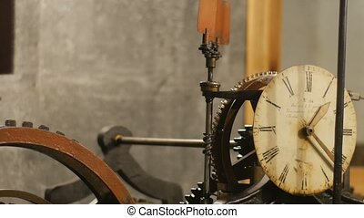 gearwheels, montre, haut, mécanisme, interne, fin