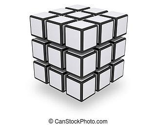 geassembleerde, 3x3, kubus