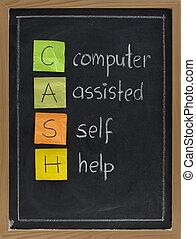 geassisteerd, computer, (cash), zelfhulp