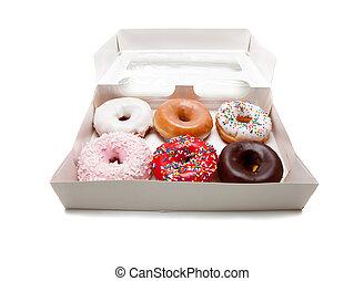 geassorteerd, donuts, op wit