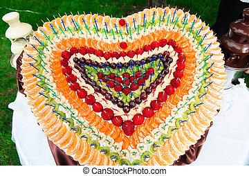 geassorteerd, fruit, hart, van, banaan, bes, kiwi